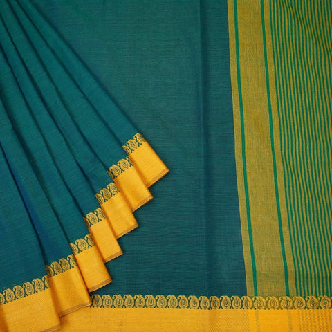 Begumpur  Cotton Blue Saree  with Paisly border