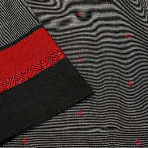 Bengal cotton slate black Saree with black and red stripes border