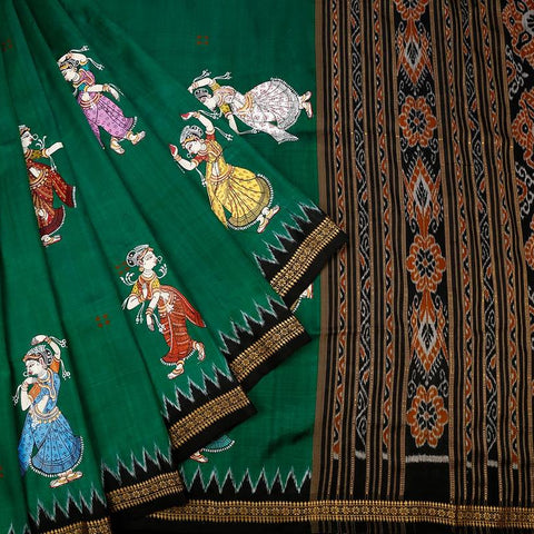 Orissa Silk Green Saree With Black Temple Border
