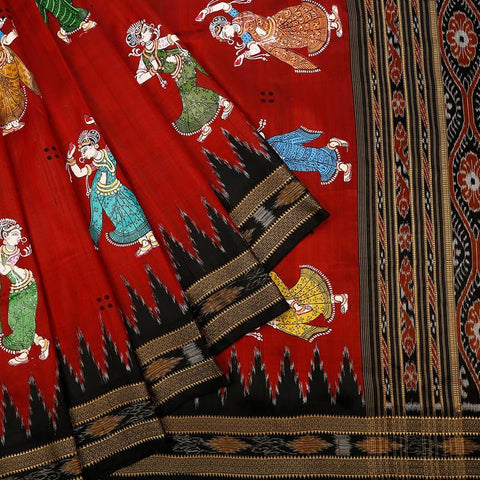 Orissa Silk Red Saree With Temple Design Border