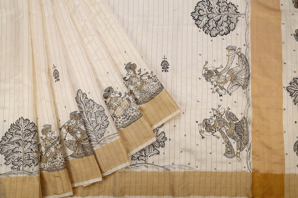 Orissa Tussar Silk Beige Saree With Multicolored Stripes Border
