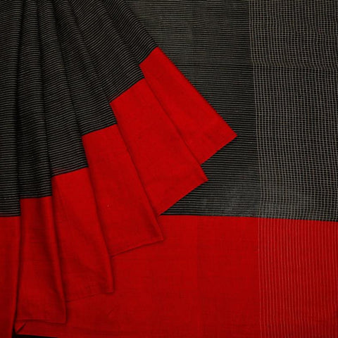 bengal handloom cotton black Saree with plain red broad border