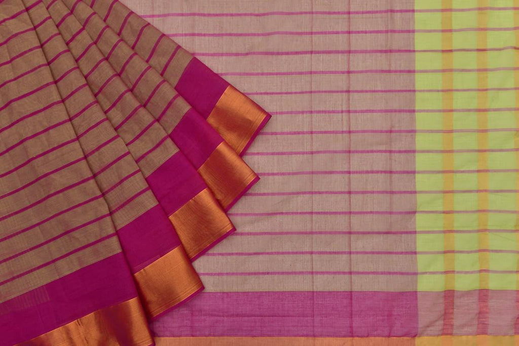 greenish pink Andhra cotton Saree with pink stripes