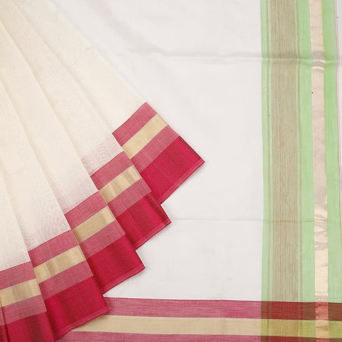 Maheshwari White Cotton Silk Saree