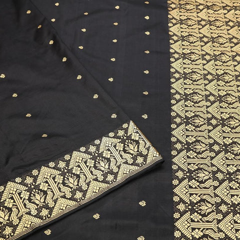 Assam Handwoven Silk  Saree In Black