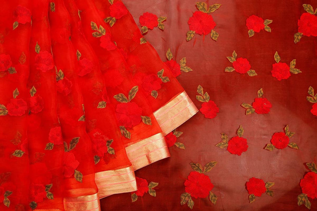 Handwoven Blood Red Organza Silk Saree With Striped Zari Border