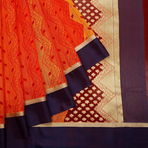 Orange Red Organza Silk Jamdani Weave Saree