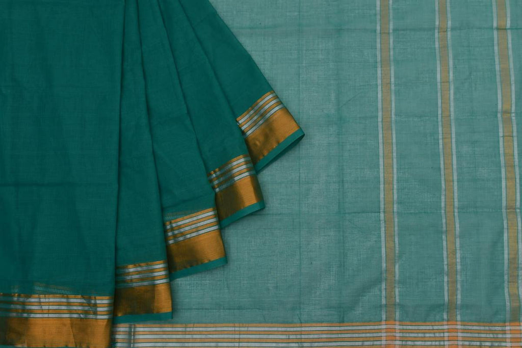 turquoise Andhra cotton Saree with plain