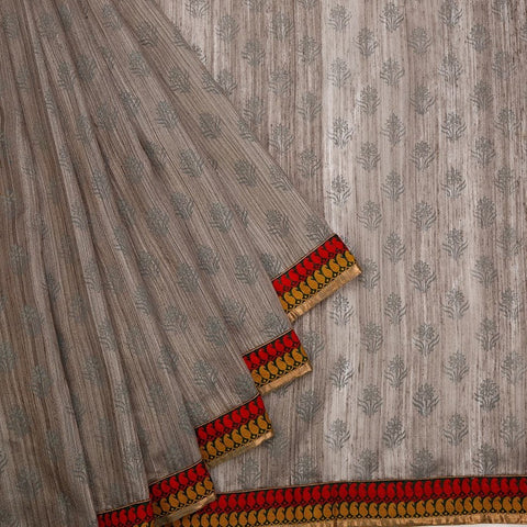Matka Hand Embroidered Grey Saree