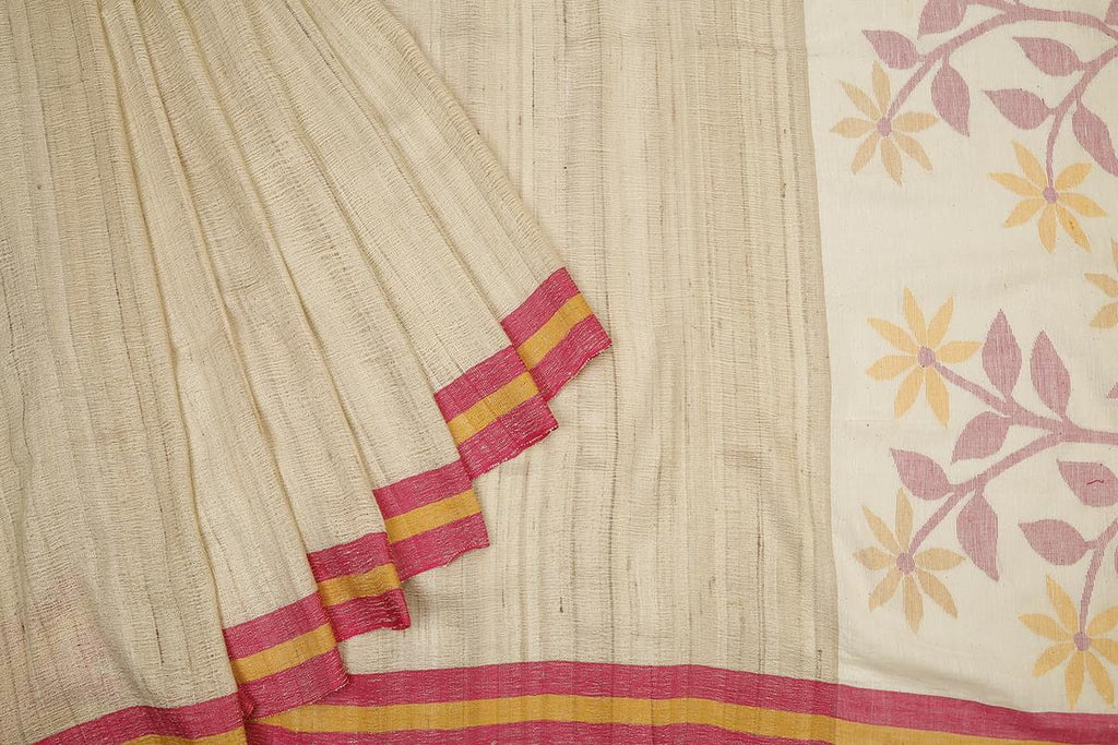 bengal ketia cotton handwoven off white plain Saree