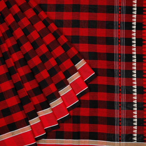 Begampur Cotton Red and Black Saree with Plain border