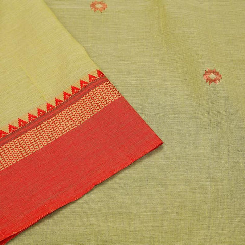 Bengal Cotton lemon green Saree with red plain border with temple border