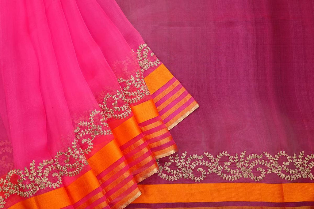 Handwoven Deep Pink Organza Silk Saree With Multiple Striped Zari Border
