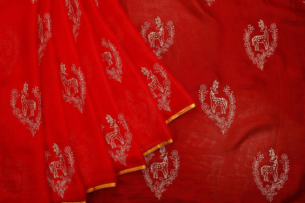 Handwoven Blood Red Kota Silk Saree With Small Zari Border