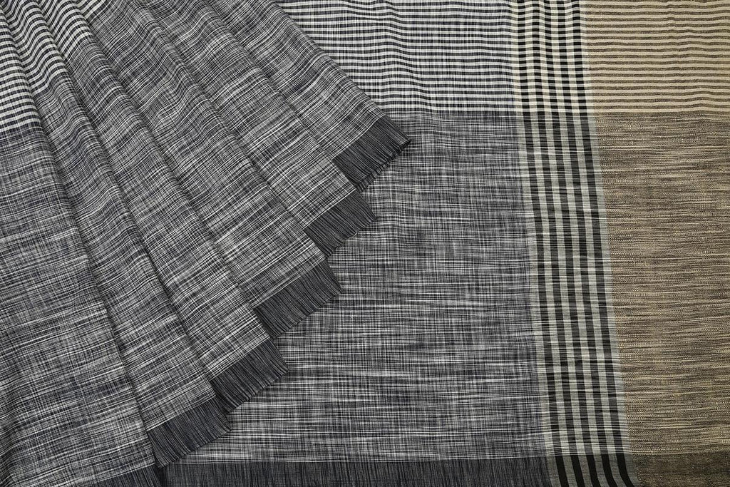 bengal cotton handwoven black,white and blue stripe Saree