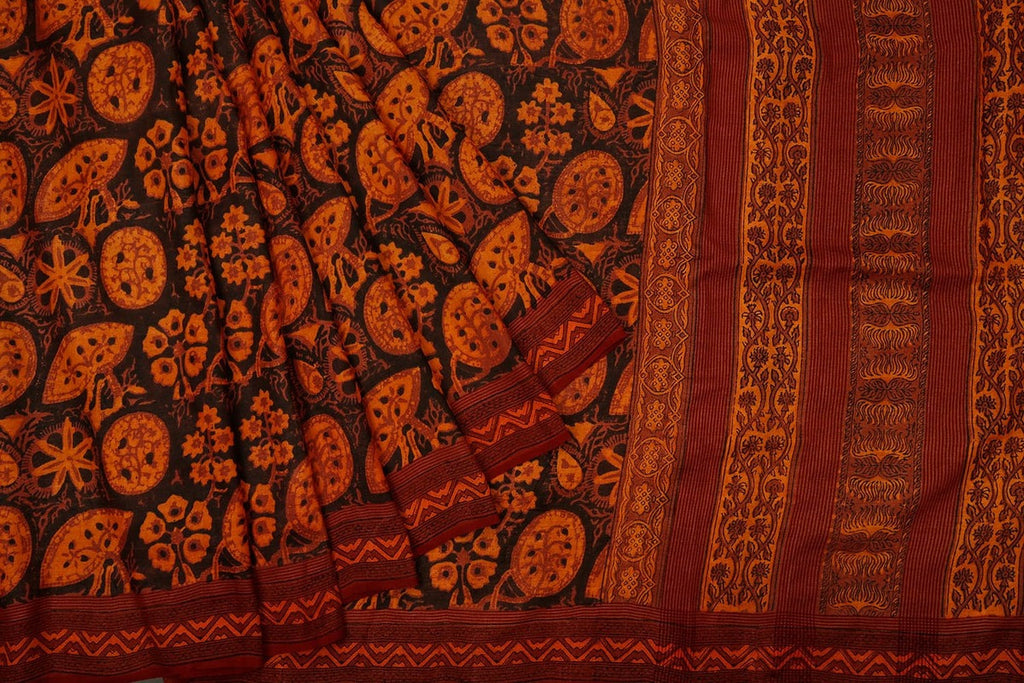 Tussar Silk Handblock Print Saree In Black And Orange Colour Natural Dye