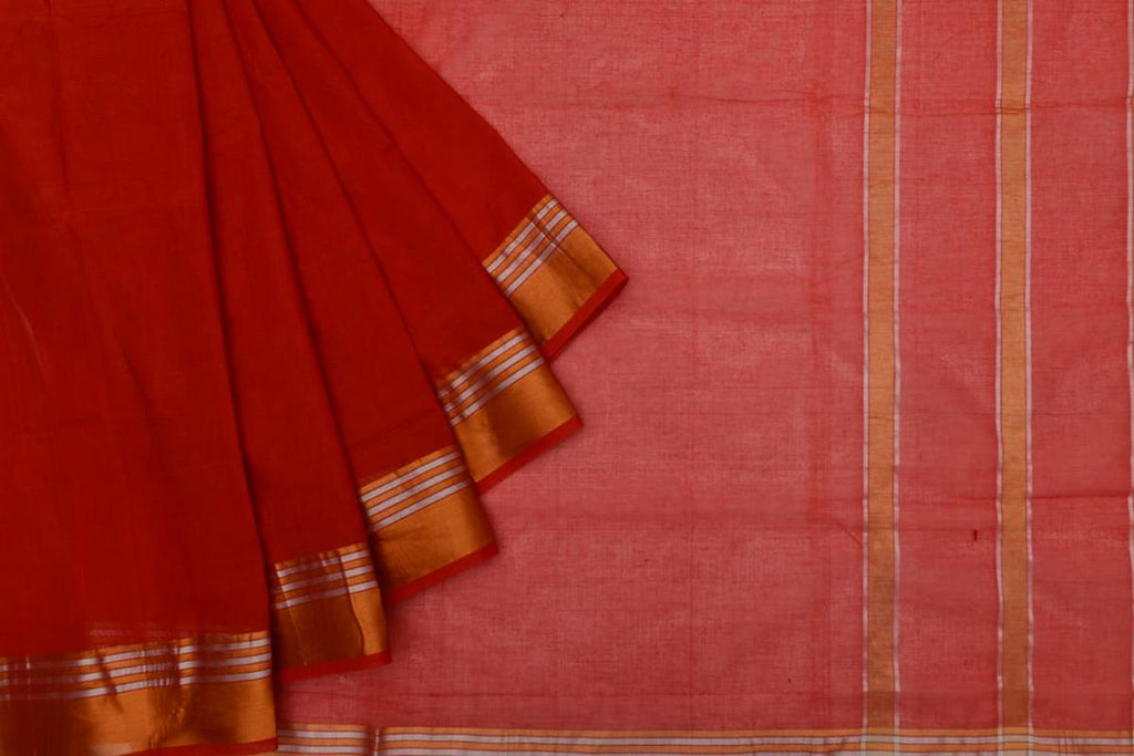 red Andhra cotton Saree with plain