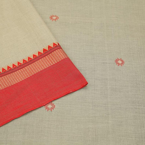 Bengal cotton off white Saree with red plain border with temple border