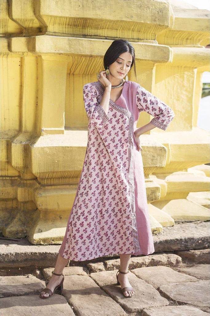 Pink hand block Cotton Flax Kurta