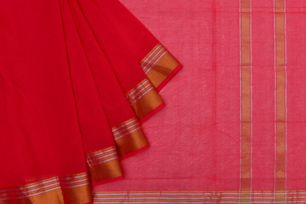 bright red Andhra cotton Saree with plain