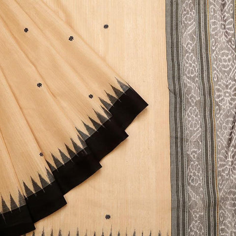 Sambalpuri Bapta Cotton  Beige Saree With temple border