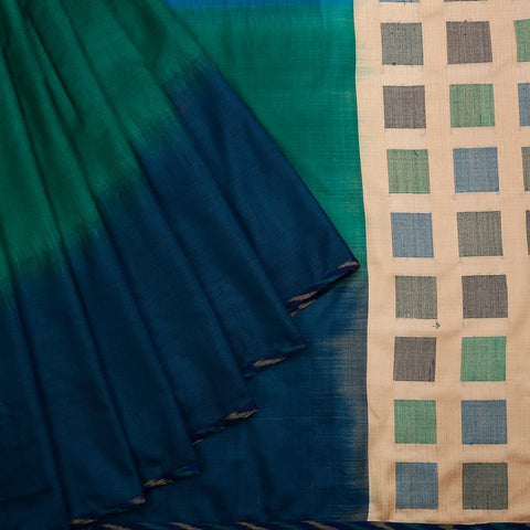 Tussar Heavy Embroidered Sarees Blue And Green Saree