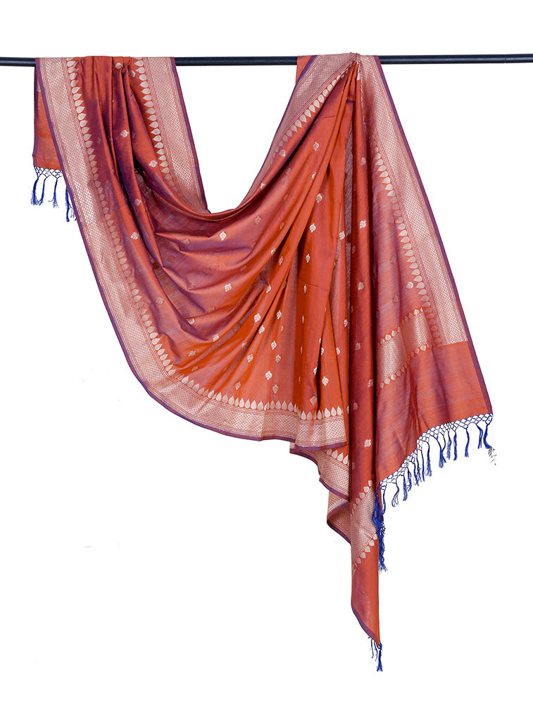 Banarasi katan silk cotton orange Dupatta  with leaf minadar butti