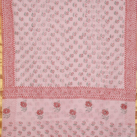 Chanderi Cotton Silk Saree In Baby Pink