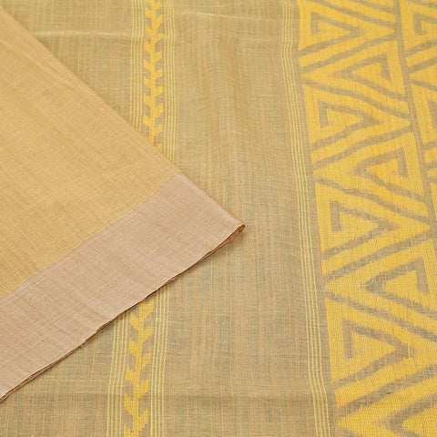 bengal jamdani cotton beige Saree with plain beige border
