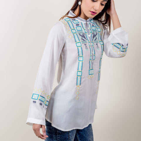 White Ice Green Geometrical Embroidered Short Kurta Top
