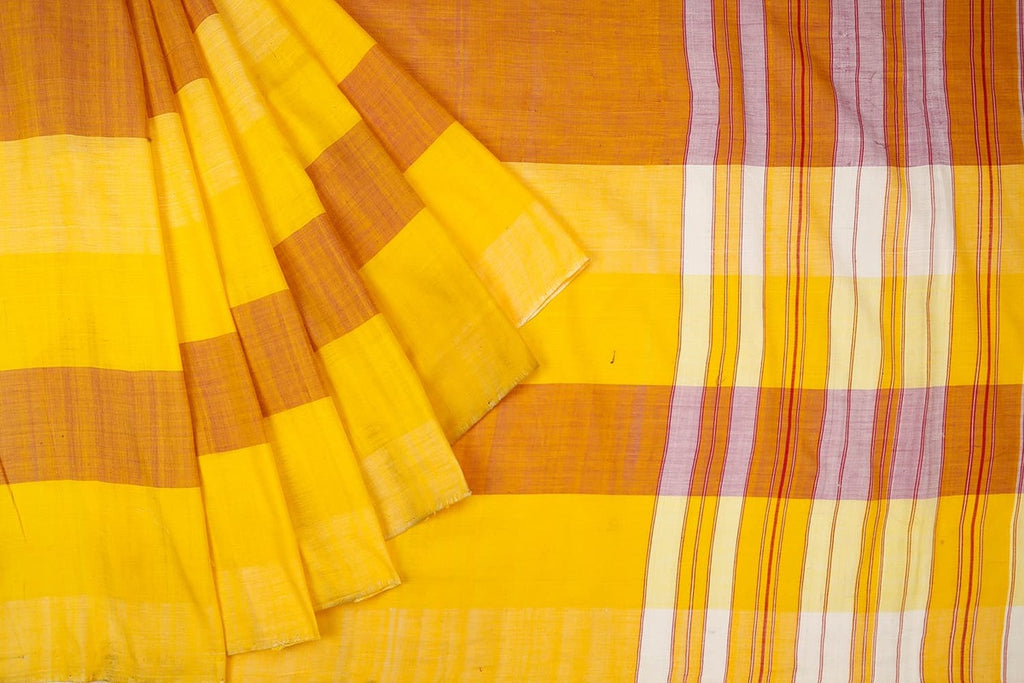 Assam Cotton  Yellow Saree