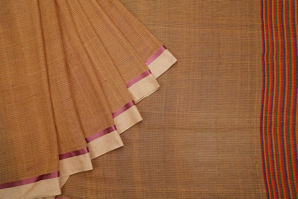 bengal handloom cotton rust Saree with purple stripes border