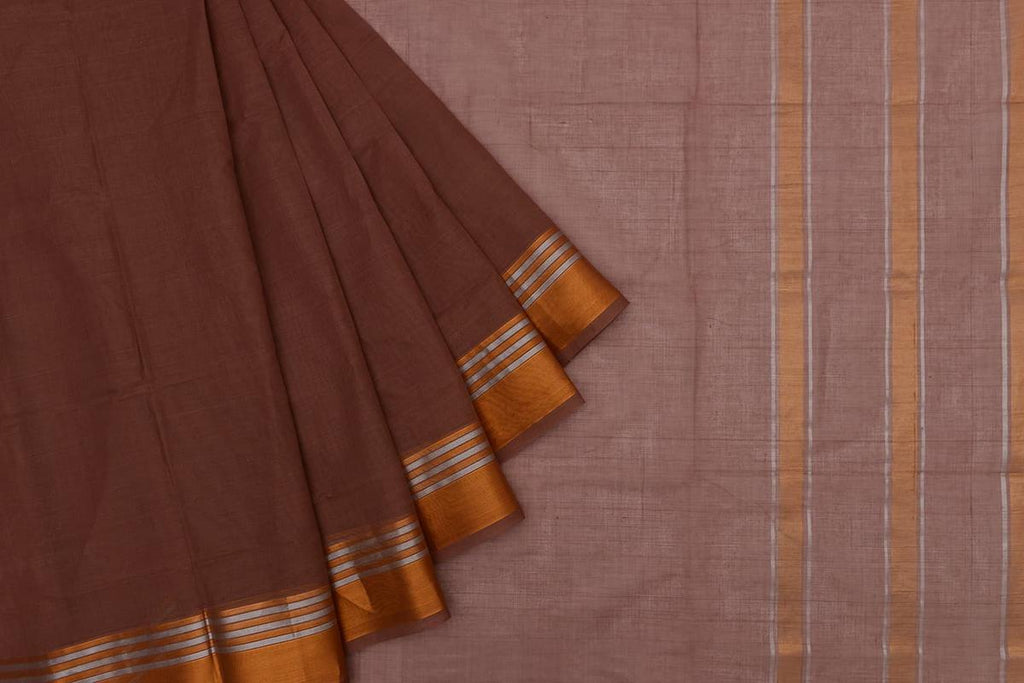 brown Andhra cotton Saree with plain