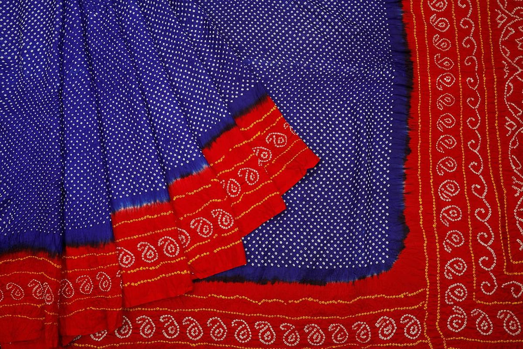 Bandhani blue and red silk Bandhani Work Saree