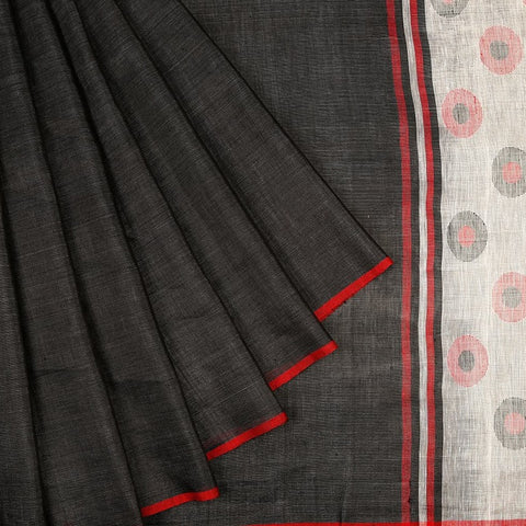 Silk Linen Heavy Embroidered Sarees Black Saree