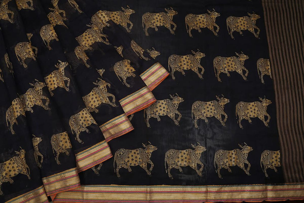 black muga silk Saree with Printed cow Motif