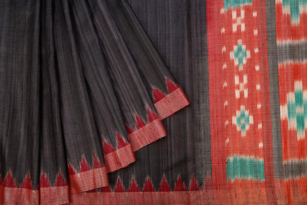 Sambalpuri Ikkat Tussar Ghicha Silk Black Saree With Red Shaded Border