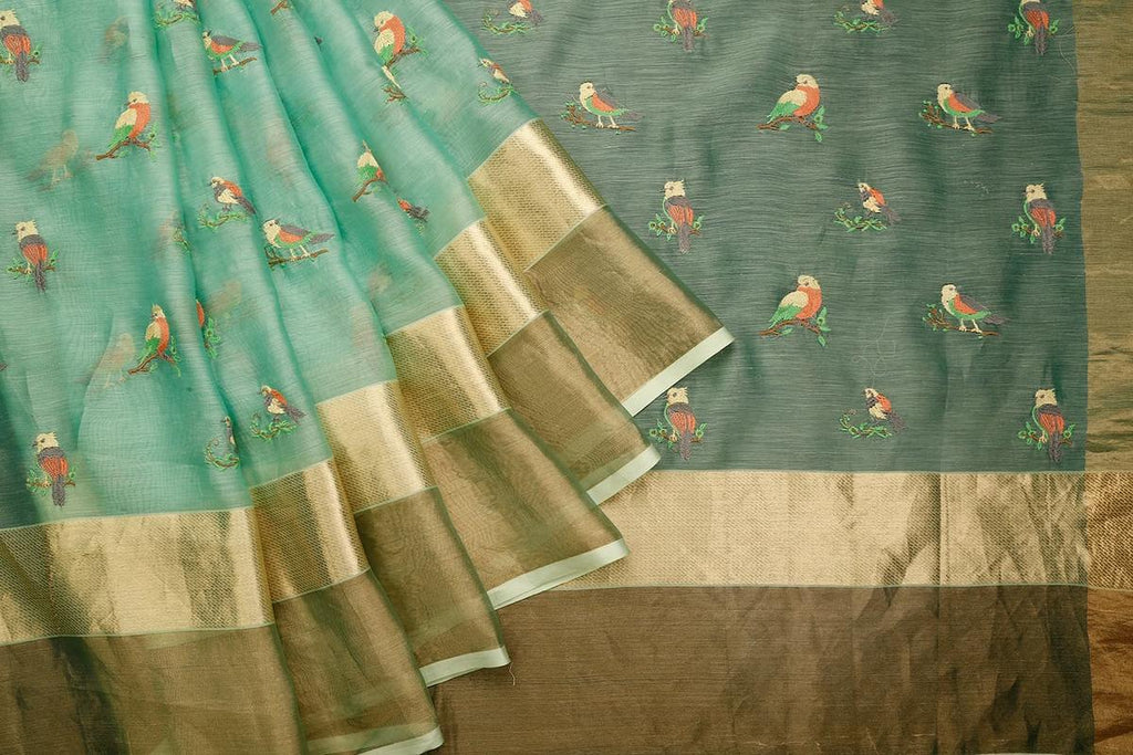 Handwoven Caribbean Green Maheshwari Silk Saree With Multiple Broad Kanchi Tissue Border