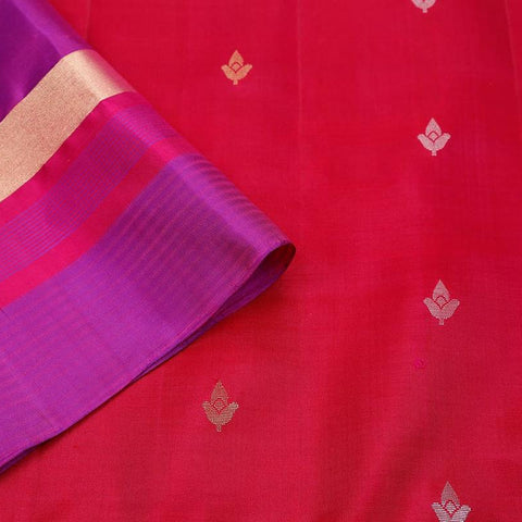 Handloom maroon and violet  Silk Saree with purple and golden stripes border