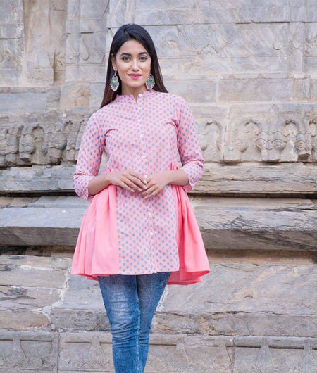 Peach hand block Print Cambric Front Open Short Kurta
