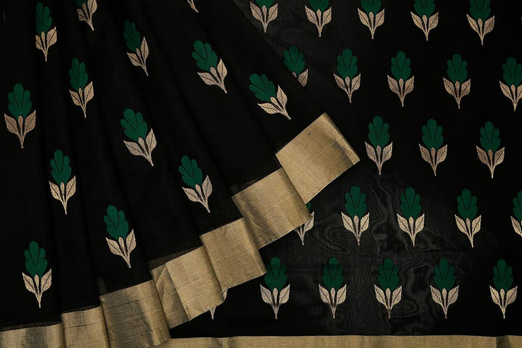 chanderi cotton silk black Handloom Saree