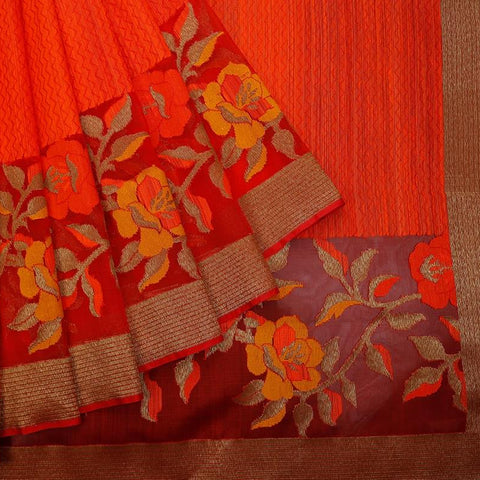 Orange Red And Maroon Organza Silk Jamdani Weave Saree
