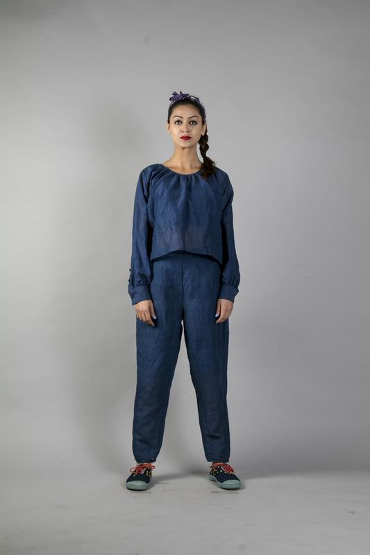 Ka-Sha blue Cotton Mila Pants