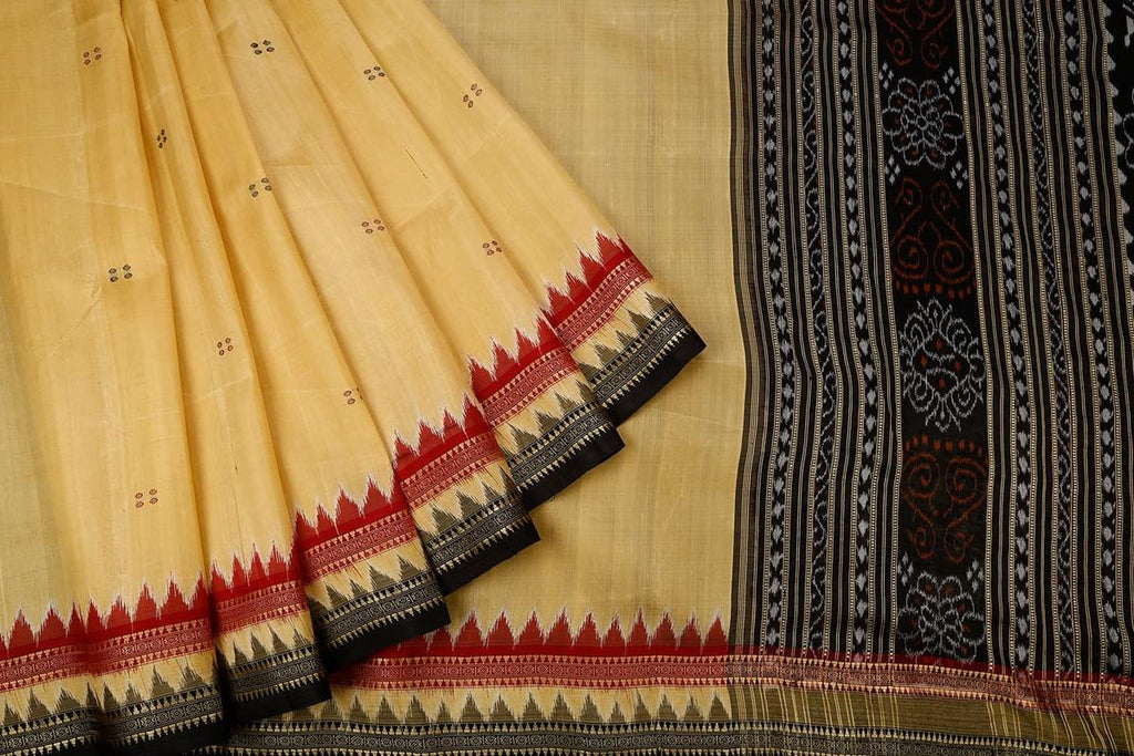 Orissa Silk Cream Saree With Ikkat Pattern Border