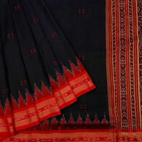 Orissa Silk Black Saree With Ikkat Pattern Border