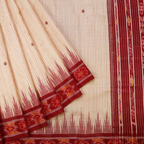 Sambalpuri Tussar Silk Beige Saree With Ikkat Pattern Border