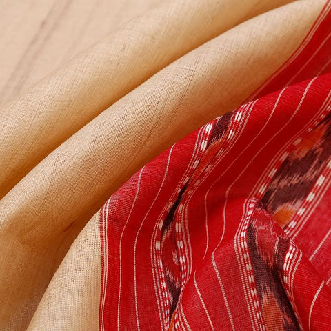 Sambalpuri Tussar Silk Beige Saree With Temple Design Border