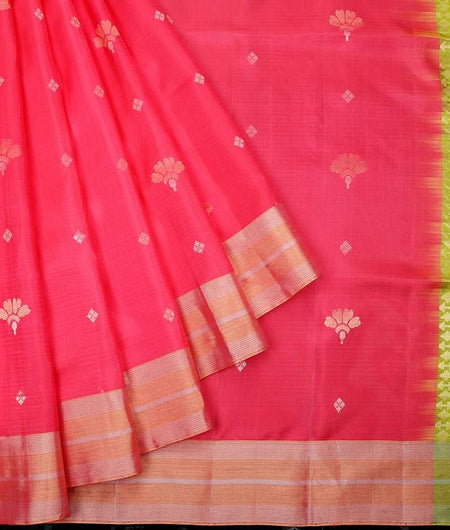 Handloom lawn green and hot pink Silk Saree with golden stripes border