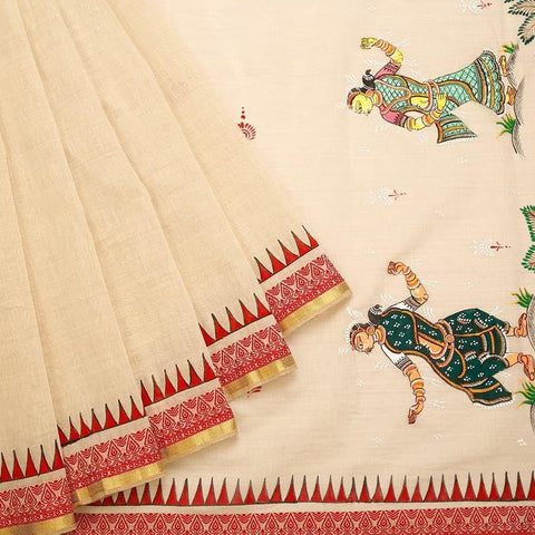 Orissa Chanderi Cotton Beige Saree With weaving border