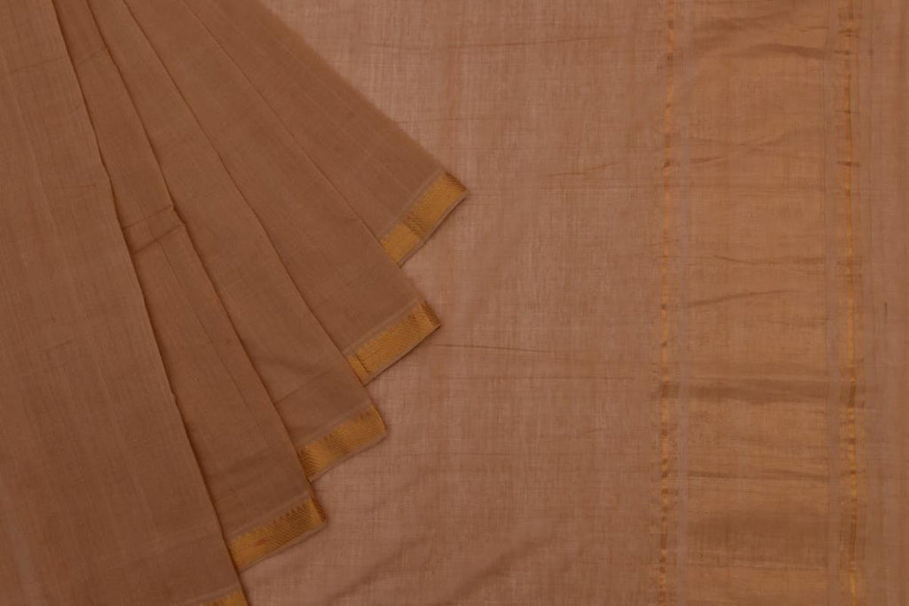 light brown Andhra cotton Saree with plain